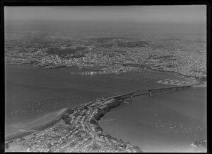 Northcote Domain, Auckland Harbour Bridge and city