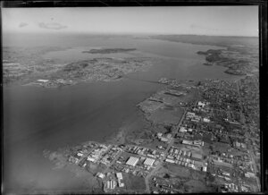 Onehunga industrial area, Mangere Bridge and Manukau Harbour, Auckland