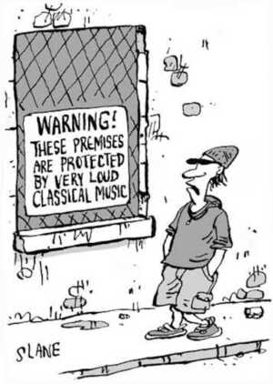 Slane, Christopher, 1957- :WARNING! These premises are protected by very loud classical music. Listener, 27 July 2002.