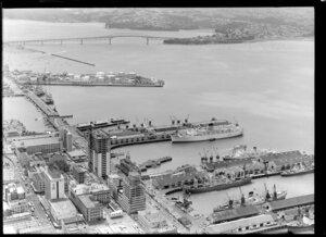 Auckland Harbour Bridge and wharves