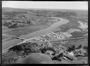 Bridge under construction across the Waikato River, Mercer, Waikato