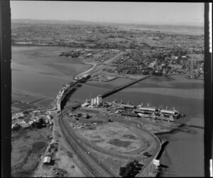 View across Onehunga wharves towards Mangere Bridge, Auckland
