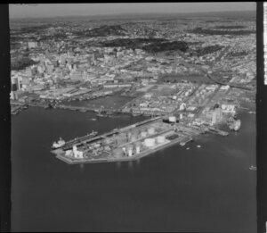 Oil tanks on Auckland wharf