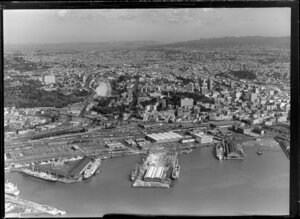 Auckland waterfront and wharves, with central view up Symonds Street