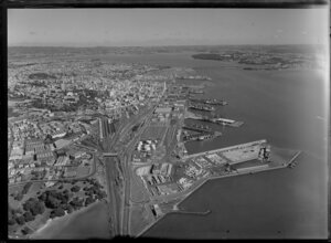Auckland Harbour showing wharves and railyards