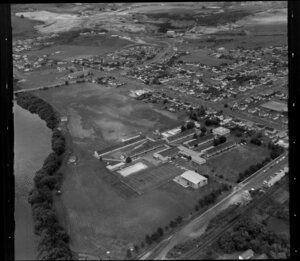 Huntly with Huntly College in foreground, Waikato District