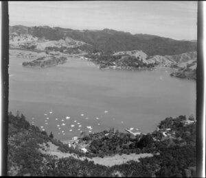 Whangaroa, (foreground), Totara North and Okura Bay opposite, Whangaroa Harbour, Far North District