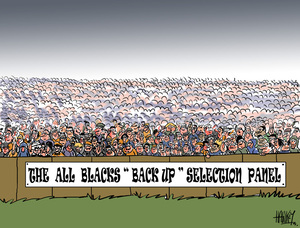 "Hawkey, Allan Charles, 1941- :The All Blacks ""back up"" selection panel. 23 August 2011"