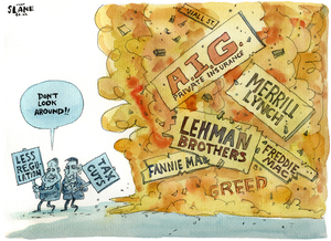 """""""Don't look around!!"""" Less regulation. Tax cuts. 20 September, 2008"""