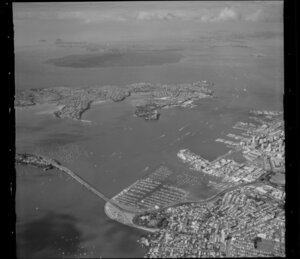 High altitude view of Waitemata Harbour, Auckland