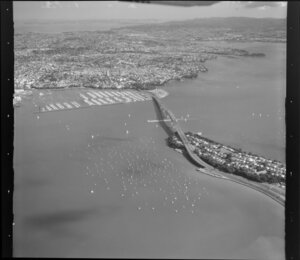 Auckland Harbour Bridge approaches viewed from the North