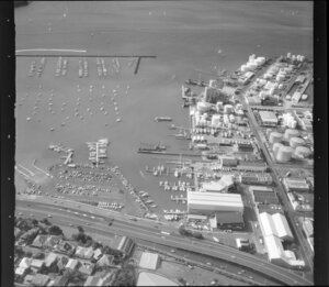 West Auckland with Westhaven marinas and harbour bridge approaches