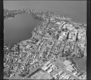 Takapuna city centre with part of Lake Pupuke, Auckland