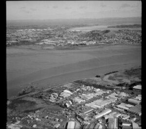 Industrial area, Onehunga, looking across the Mangere Bridge, Auckland