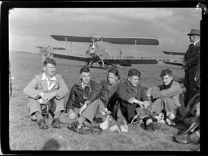 Waikato Air Pageant, from left are Lou Le Vaillant and Bert Pearson from the Waikato, W J Marr, J L Irvine and P E Weston from Auckland