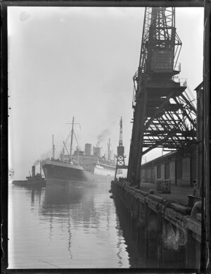The ship, Rangitane, coming in to berth at a wharf in Auckland