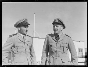 D G Keesing (left) and Captain H J Rose on flying boat RMA Auckland at Mechanics Bay, Auckland