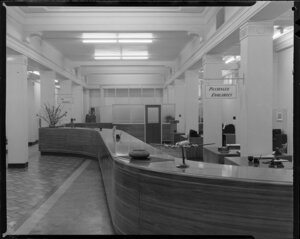 Interior of Pan American World Airways office, Windsor House, Queen Street, Auckland