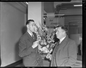 Mr Q Campbell of Pan American Airways (left) and and Mr G Roberts, of TEAL at the Pan American cocktail party