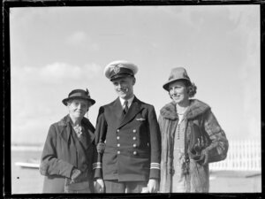 Oscar Garden, crew member for Tasman Empire Airways Ltd with family members