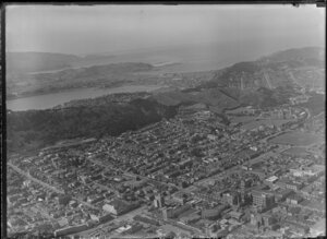 Wellington city, looking toward Lyall Bay, showing Courtenay Place area and Mount Victoria