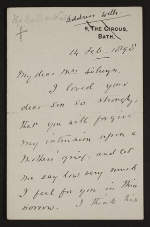 Letters on death of John Richardson Selwyn