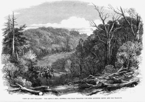 Illustrated London news :Views in New Zealand. The Devil's Nest, showing the road through the bush between Drury and Waikato. (London, 1863)