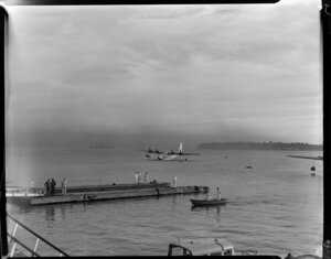 Auckland harbour, early morning scene, TEAL (Tasman Empire Airways Ltd)