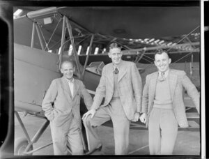 NA Campbell, J Neave, and D O'Donnell at Canterbury Aero Club