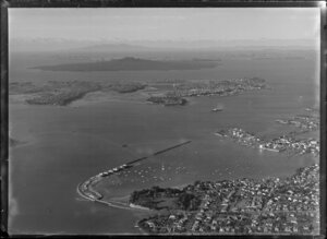 Auckland harbour including Rangitoto Island in the background