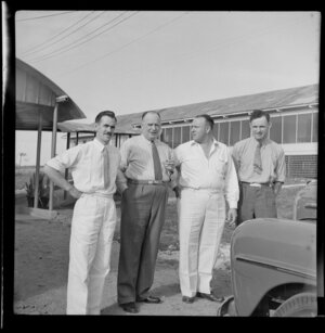 T O'Connell, Regional Manager New Zealand National Airways Corporation, G N Roberts General Manager Tasman Empire Airways Ltd, J Turner Airport Manager [CAB?], P Van Asch New Zealand Aerial Mapping, Nadi Airport, Fiji