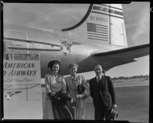 Mr and Mrs Simm and sister-in-law, passengers on Pan American World Airways