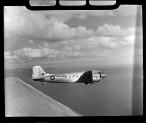 RNZAF (Royal New Zealand Air Force) 41 Squadron, Dakota airplane in flight