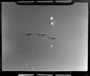 Royal New Zealand Air Command RAC Pageant at Mangere, 41 Transport Squadron dropping supplies by parachute