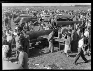 Royal New Zealand Air Command RAC pageant at Mangere, static display of V-1 'flying bomb' missile