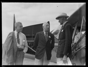 Royal New Zealand Air Command RAC pageant at Mangere, showing Doc Buchanan, Hume D Christie and Sir Keith Park