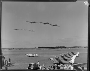 Royal New Zealand Air Command RAC pageant at Mangere, Dakotas in formation