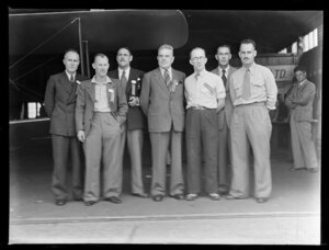 Royal New Zealand Air Force Pageant, Mangere, (from left): Messrs F C MacDonald, F McKeever, J Spencer, Dr H M Buchanan, Johnson, J Beachan and R Prentice