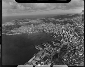 Wellington city and harbour looking toward south coast