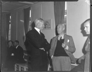 Sir Keith Park (left) and Captain Barlett at a welcoming function for the Tasman Empire Airways Ltd arrival of the Short Solent flying boat RMA Ararangi ZK-AMM