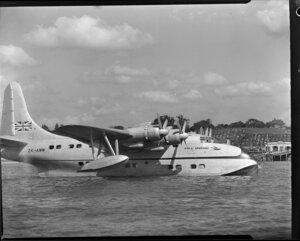 Tasman Empire Airways Ltd Short Solent flying boat RMA Ararangi ZK-AMM arriving in Auckland