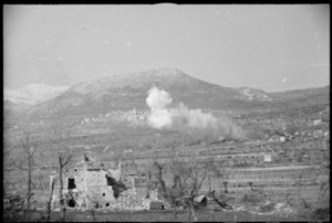 Enemy shelling and counter smoke shelling the vicinity of the village of San Pietro, Monte Cassino area