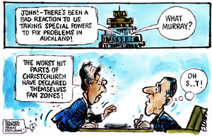 "Evans, Malcolm Paul, 1945- :""John! - there's been a bad reaction to us taking special powers to fix problems in Auckland!"" 14 September 2011"