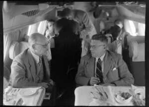 Air Marshall Willock (left) with B J Baragwanath on board the Tasman Empire Airways Ltd Short Solent flying boat, Sydney to Auckland flight