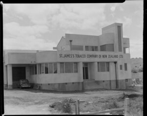 Exterior of St James's Tobacco Company of New Zealand Ltd, Penrose, Auckland