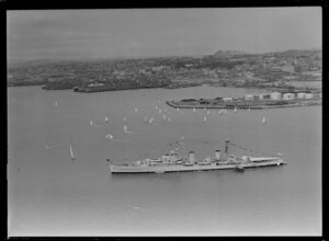 HMNZS Bellona and the 100th Anniversary Day regatta, Auckland Harbour