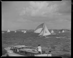 18 footer yacht race, 100th Anniversary Day regatta, Auckland Harbour