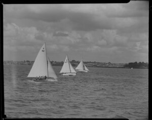 18 footers yacht race with V40, F44 and C44, 100th Anniversary Day regatta, Auckland Harbour