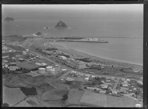 New Plymouth port area, showing Sugar Loaf Islands in the background to the left