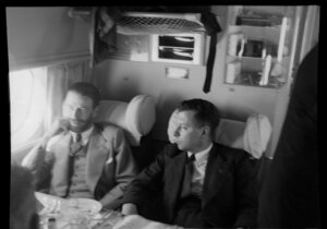 John Ulm on the right aboard the Tasman Empire Airways Ltd Short Solent flying boat, Sydney to Auckland flight